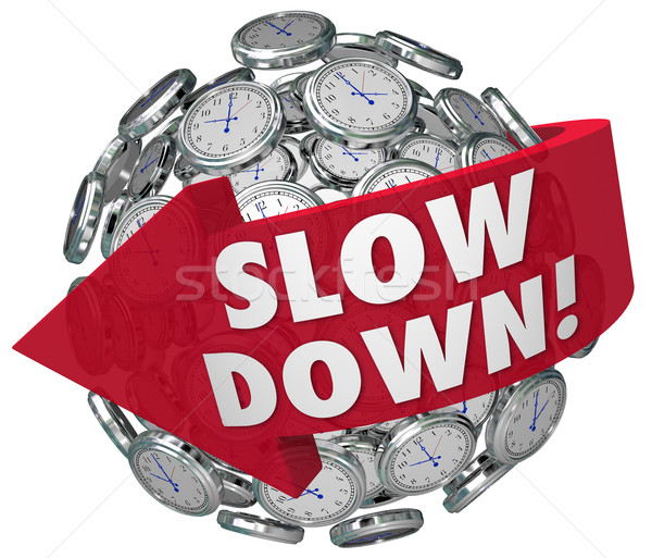 Slow Down Clocks Sphere Time Passing Too Quickly Fast Warning Stock photo © iqoncept