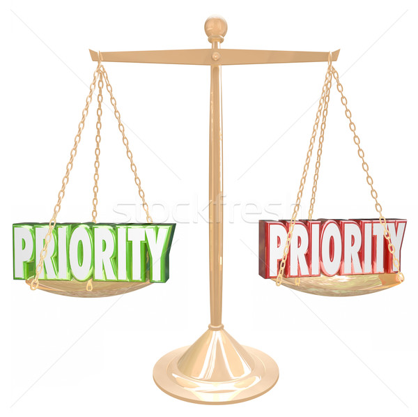 Priority 3d Words Weighing Most Important Jobs Tasks Scale Stock photo © iqoncept