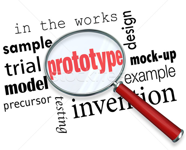 Prototype Mock-Up Product Sample Magnifying Glass Words Stock photo © iqoncept