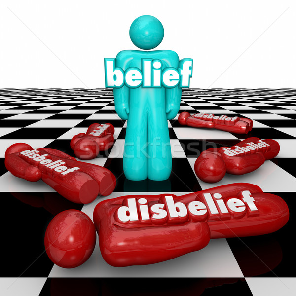 Belief Vs Disbelief One Confident Person with Faith Stands Doubt Stock photo © iqoncept