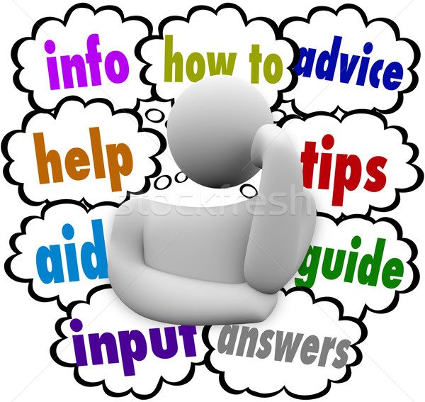 How To Information Help Aid Advice Thinker Thought Clouds Stock photo © iqoncept