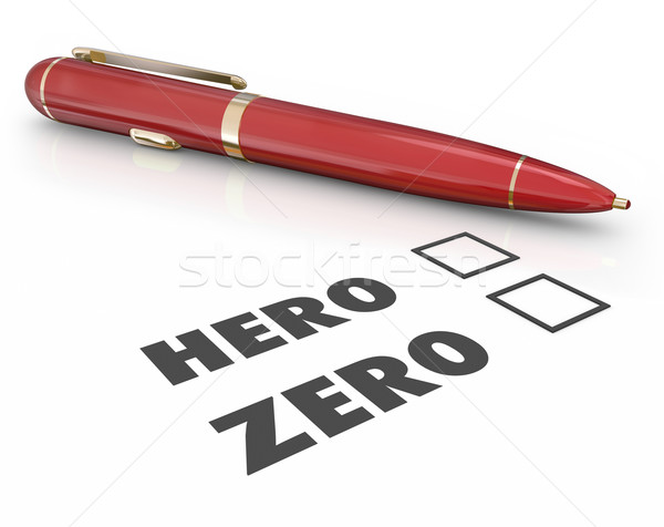 Hero or Zero Pen Check Boxes Answering Form Questionnaire Stock photo © iqoncept