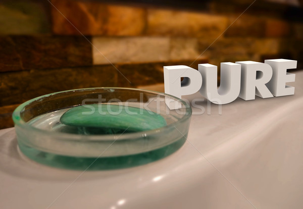 Pure Word Bath Soap Dish Purify Cleanse Natural Stock photo © iqoncept
