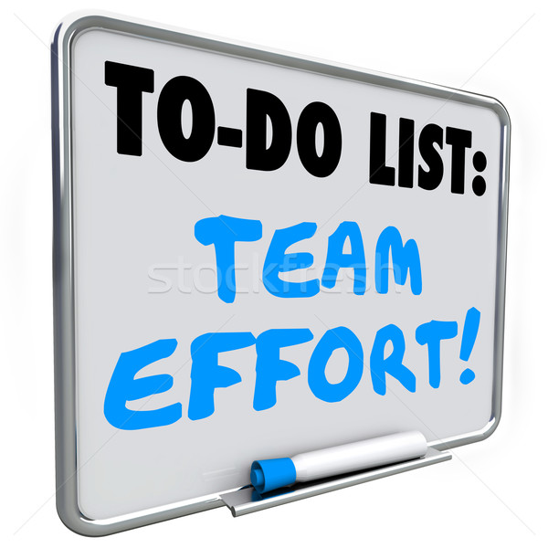 Team inspanning to do list drogen boord woorden Stockfoto © iqoncept