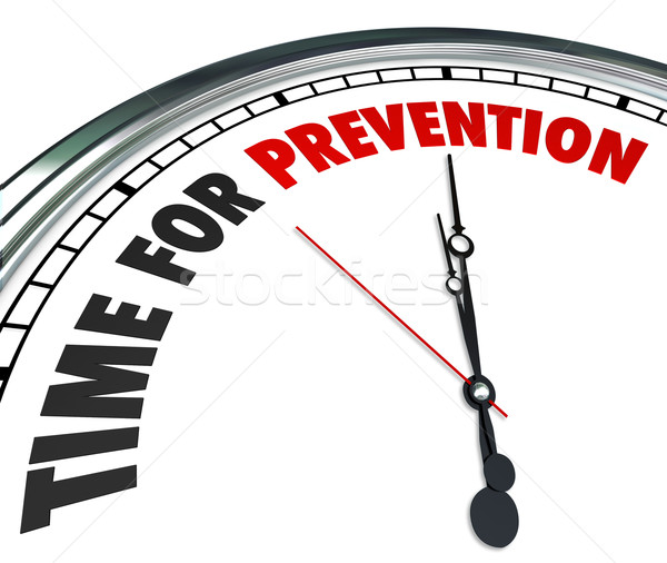 Time for Prevention Words Clock Safety Precaution Procedure Stock photo © iqoncept