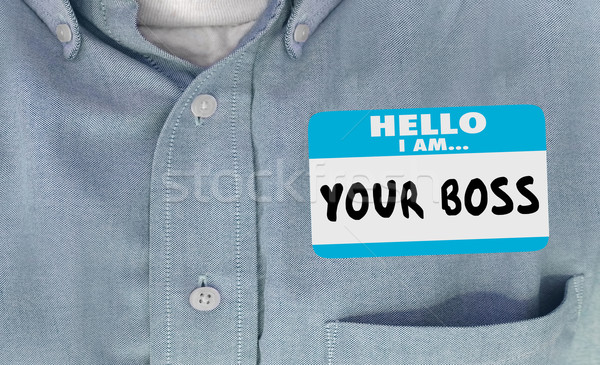 Ciao boss parole targhetta adesivo shirt Foto d'archivio © iqoncept