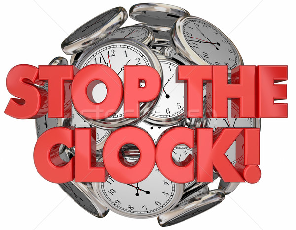 Stop the Clock Break Time Out Pause Words 3d Illustration Stock photo © iqoncept