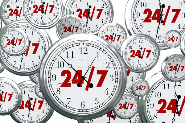 24 7 Hours Day Service Always Open Clocks Time 3d Illustration Stock photo © iqoncept