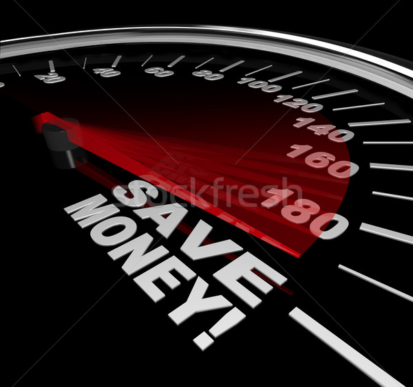 Save Money - Discount Sale Words on Speedometer Stock photo © iqoncept