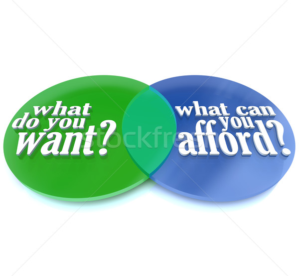 What Do You Want vs Can You Afford Venn Diagram Stock photo © iqoncept