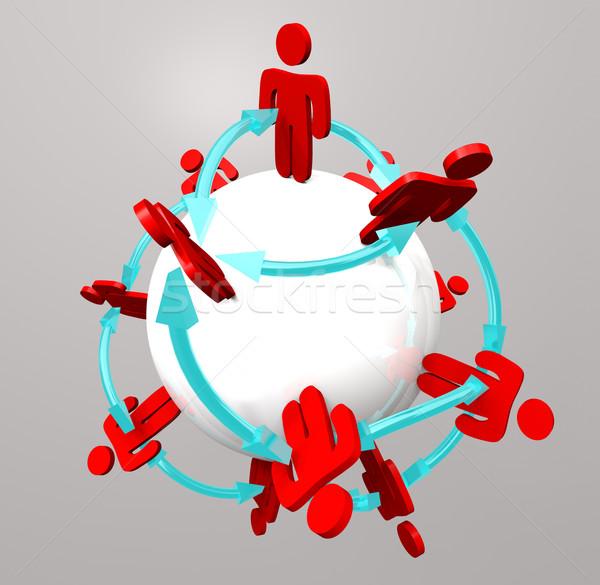 ストックフォト: 人 · 社会的ネットワーク · 多くの · 周りに · 球