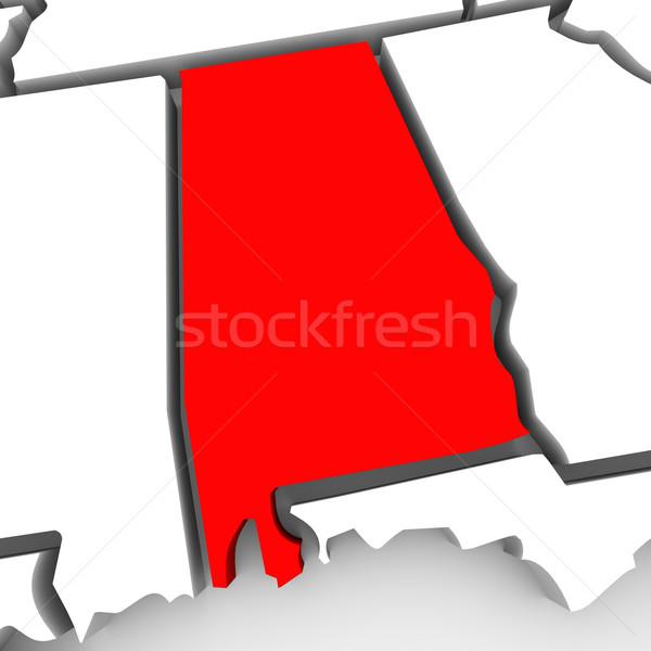 Alabama kırmızı soyut 3D harita Amerika Birleşik Devletleri Stok fotoğraf © iqoncept