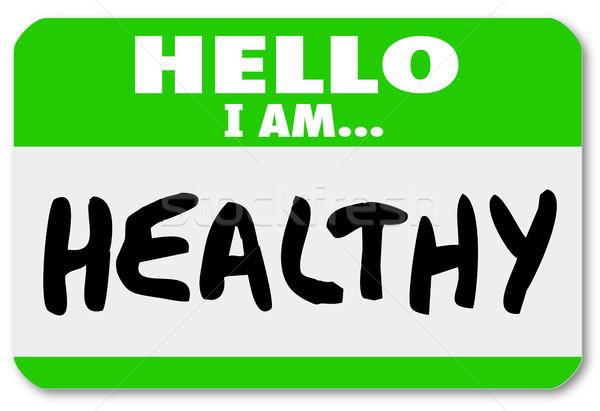 Foto stock: Hola · saludable · palabras · etiqueta