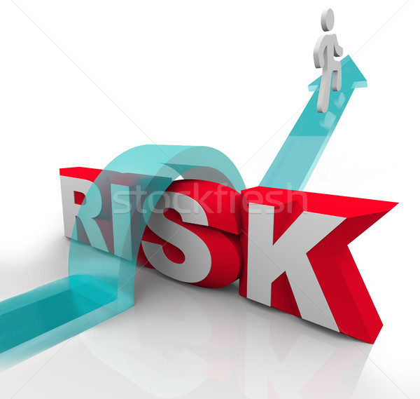 Risk Jumping Over Word Avoiding Danger Hazards Stock photo © iqoncept