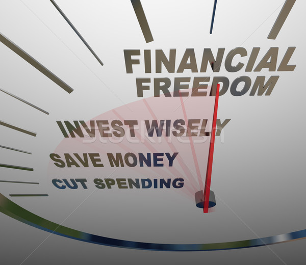 Financial Freedom Speedometer Invesment Savings Money Stock photo © iqoncept