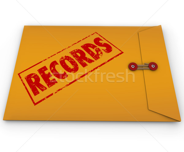 Foto stock: Registros · documentos · amarelo · confidencial · documento · envelope