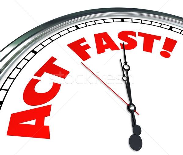 Act Now Clock Time Urgency Action Required Limited Offer Stock photo © iqoncept