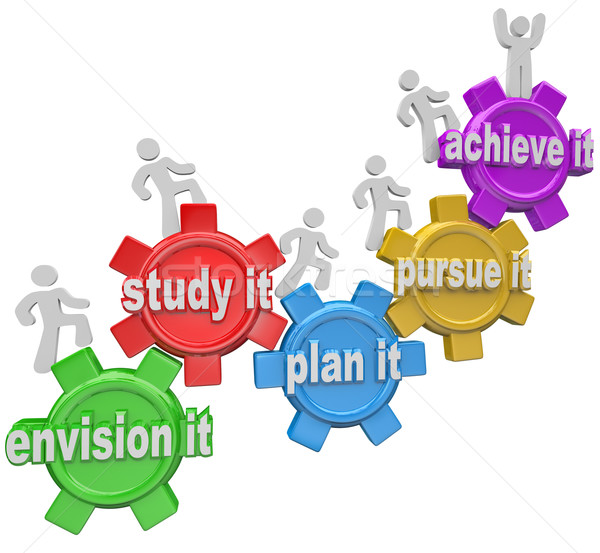 Stock photo: How to Achieve People Climbing Up Gears Envision Plan Pursue