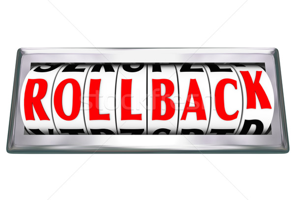 Rollback Word Rolling Back Time Price Save Money Stock photo © iqoncept