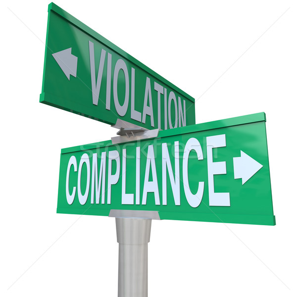 Stock photo: Compliance Vs Violation Street Road Sign Direction Advice Follow