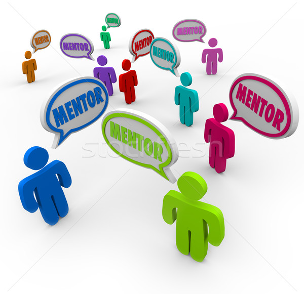 Mentor Speech Bubbles People Guide Teacher Expert Knowledge Stock photo © iqoncept