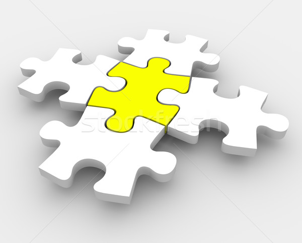 Puzzle Pieces Fitting Together One Central Integral Middle Part Stock photo © iqoncept