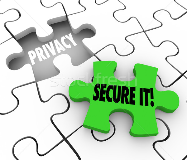 Privacy Secure It Words Puzzle Piece Gap Safety Private Informat Stock photo © iqoncept