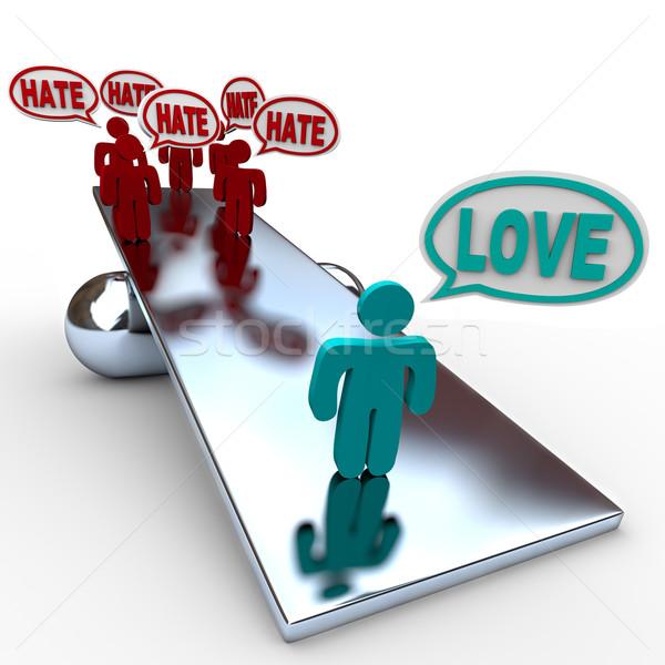 Amor Ódio saldo uma pessoa provérbio muitos Foto stock © iqoncept
