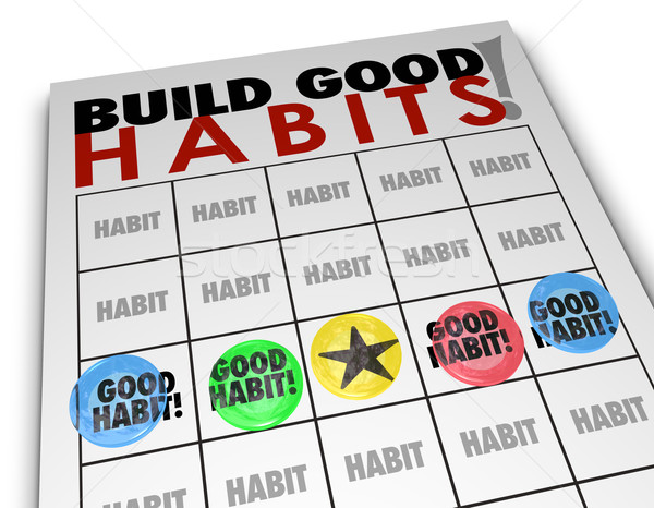 Build Good Habits Bingo Card Develop Strong Skills Growth Stock photo © iqoncept