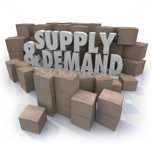 Supply and Demand 3d Words Cardboard Boxes Inventory Stock photo © iqoncept