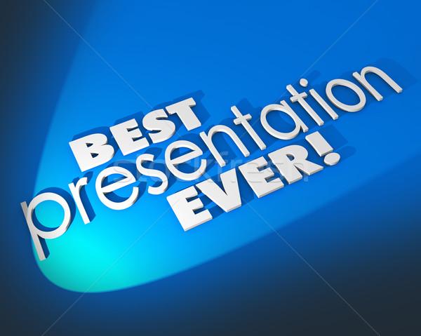 Best Presentation Ever 3d Words Blue Background Great Proposal Stock photo © iqoncept