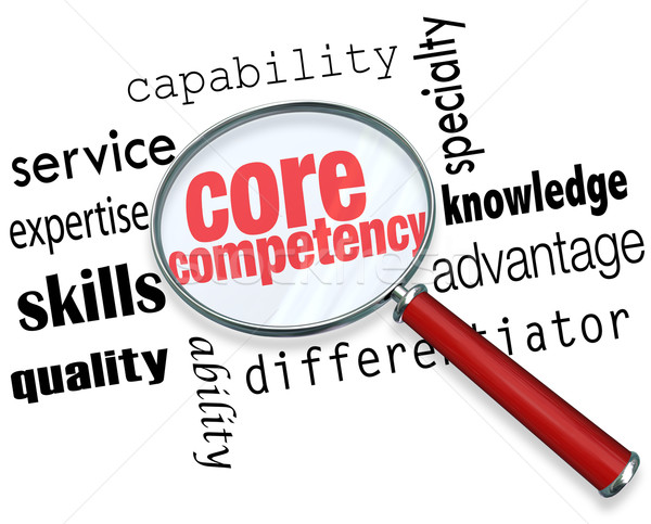 Core Competency Magnifying Glass Words Find Competitve Advantage Stock photo © iqoncept