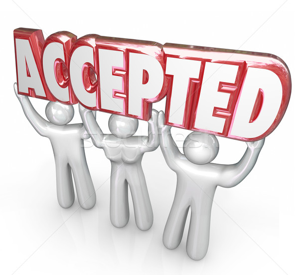 Accepted Word Lifted People Approval Positive Response Feedback Stock photo © iqoncept