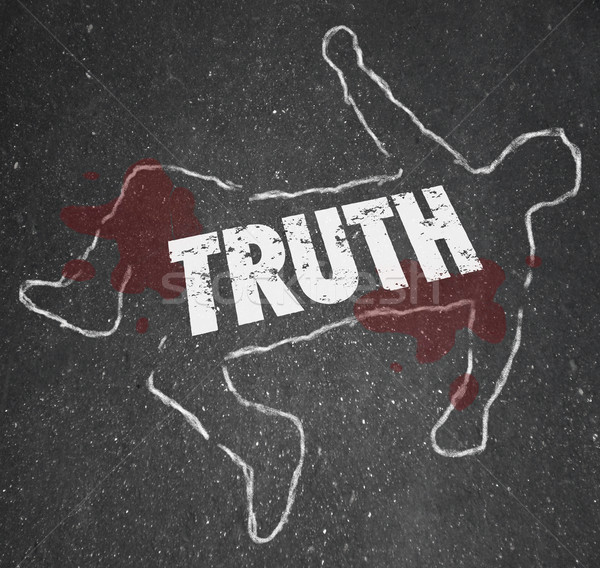 Death of the Truth Chalk Body Outline Deceit Lies Fraud Coverup Stock photo © iqoncept