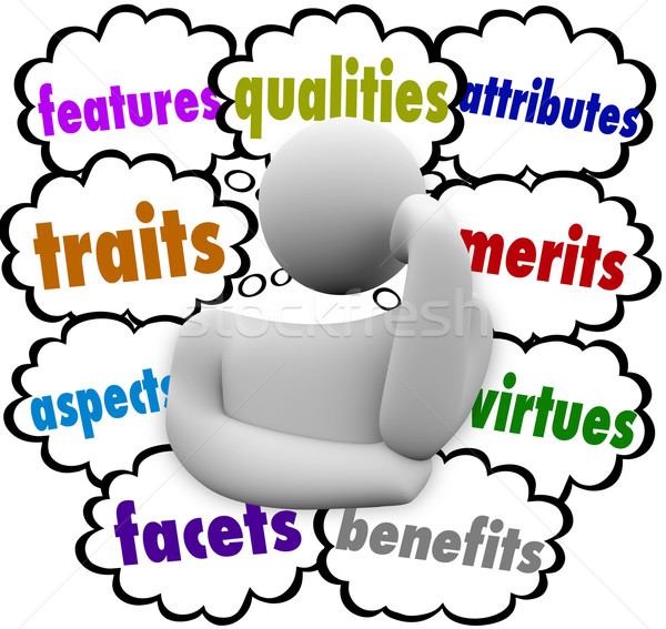 Features Qualities Attributes Competitive Edge Advantage Thinker Stock photo © iqoncept