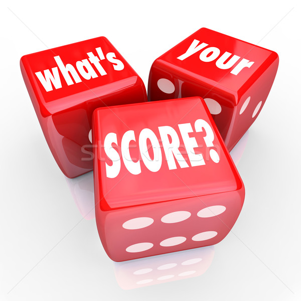 What's Your Score Three 3 Red Dice Credit Rating Level Grade Stock photo © iqoncept