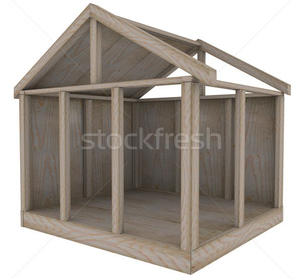 Maison bois cadre maison fondation nouvelle Photo stock © iqoncept