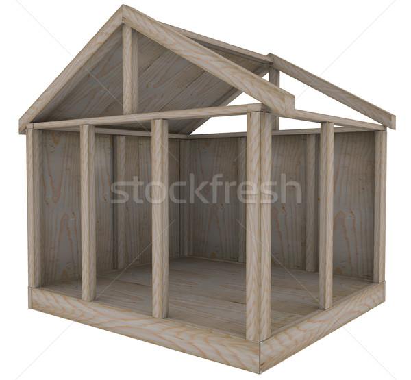 Casa madera marco casa base nuevos Foto stock © iqoncept