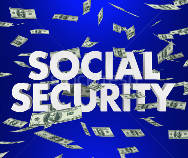 Social Security Money Falling 3d Words Saving Retirement Stock photo © iqoncept