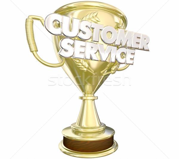 Customer Service Award Prize Best Staff Words 3d Illustration Stock photo © iqoncept