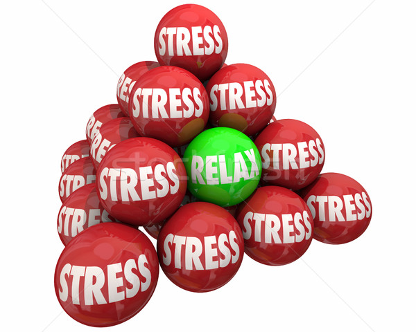Stress Vs Relax Ball Pyramid Burdens Relief 3d Illustration Stock photo © iqoncept