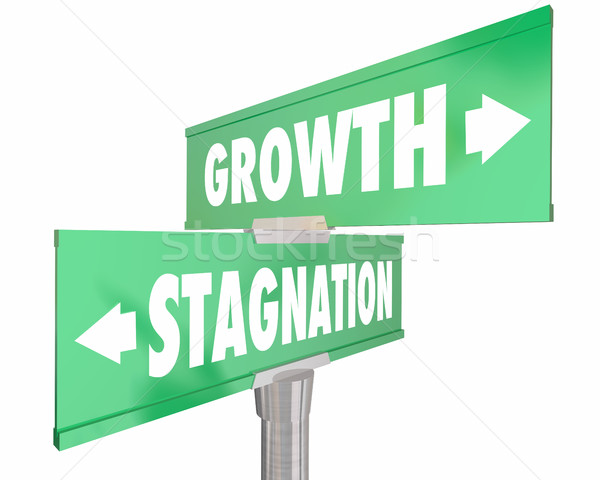 Growth Vs Stagnation Two 2 Way Road Street Signs 3d Illustration Stock photo © iqoncept