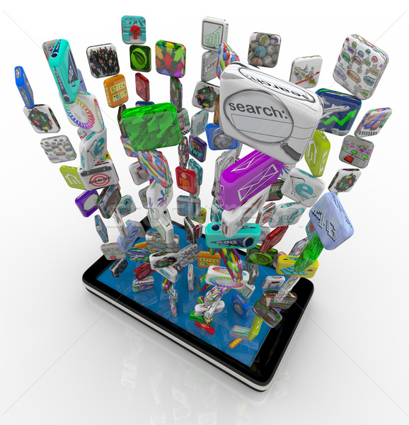 App Icons Downloading into Smart Phone Stock photo © iqoncept