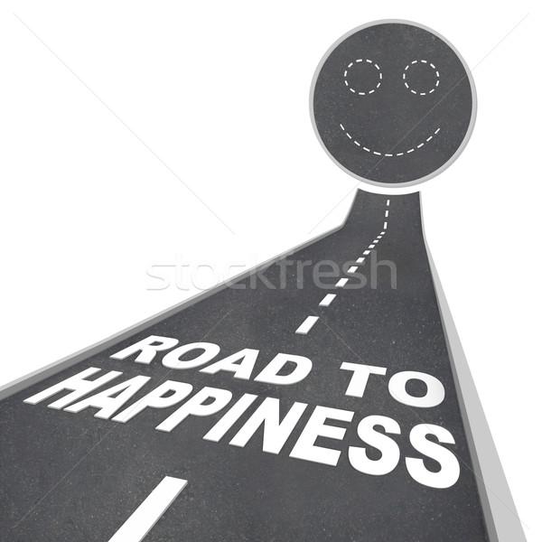 Stock fotó: út · boldogság · mosolygós · arc · utca · járda · szavak