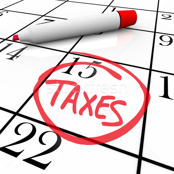 Stock photo: Calendar - Tax Day Circled