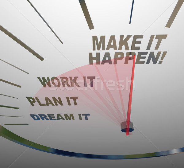 Make it Happen Speedometer Dream Plan Work Achieve Gaol Stock photo © iqoncept