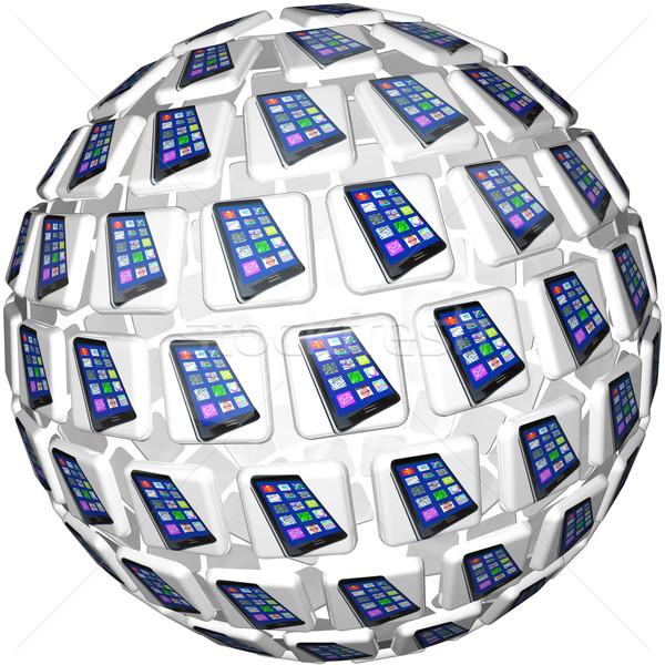 ストックフォト: スマート · 電話 · アプリ · タイル · 球 · パターン