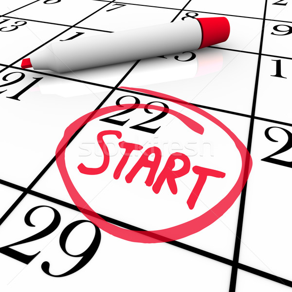Start Word Calendar Starting Day Circled Date Marker Stock photo © iqoncept