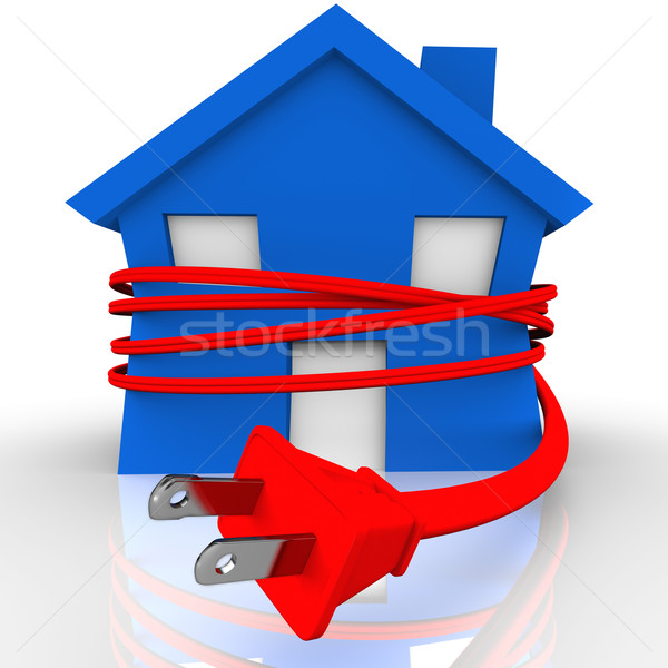 Electrical Cord Strangling House Home Power Energy Stock photo © iqoncept