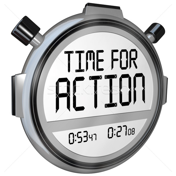 Stock photo: Time for Action Stopwatch Timer Clock Demanding Act